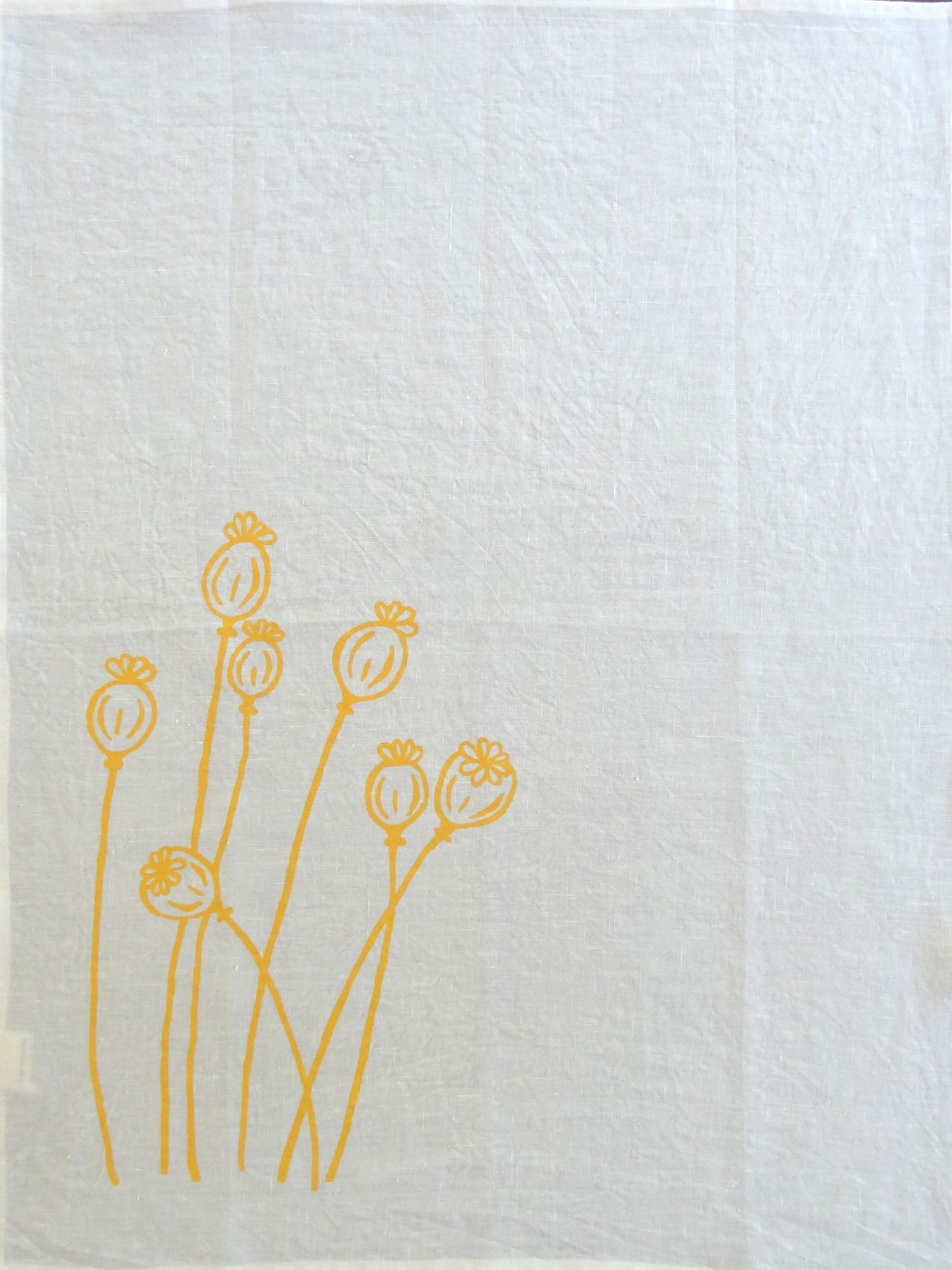 Linen Tea Towel with poppies