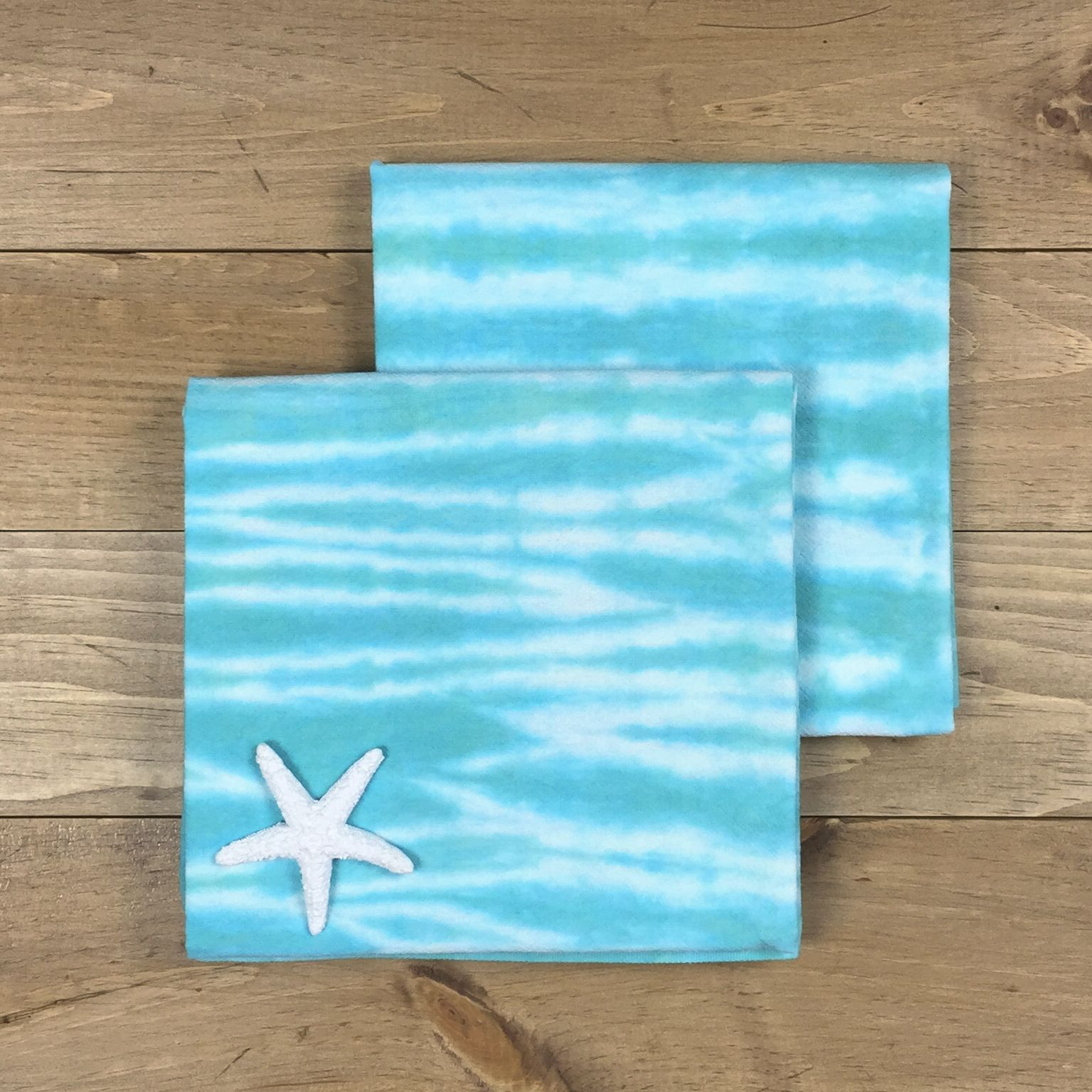 Turquoise hand dyed towels
