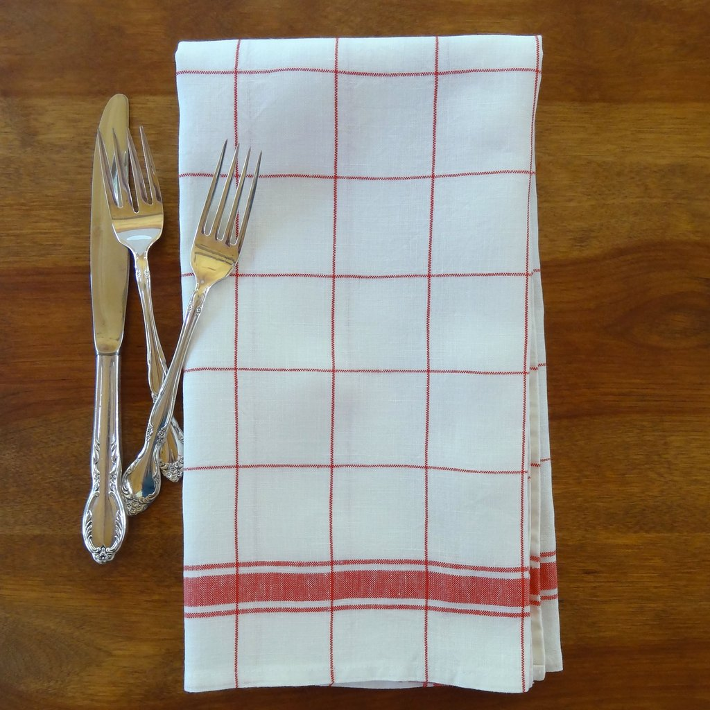 Linen Tea Towel with red and white checkers