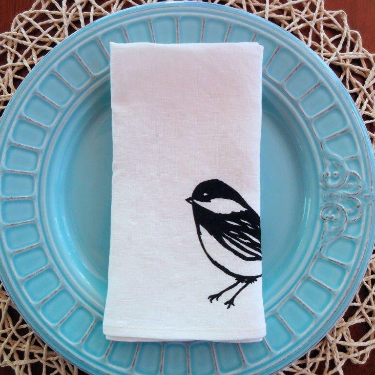 Linen napkin with a little cute bird