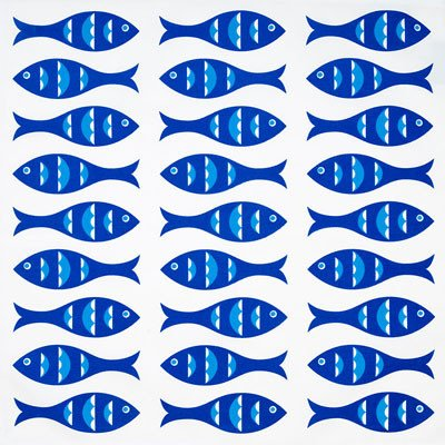 Napkins with blue fish design