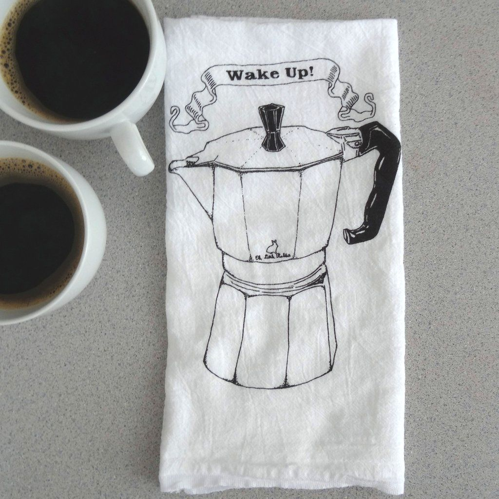 Flour Sack towel with a espresso maker design