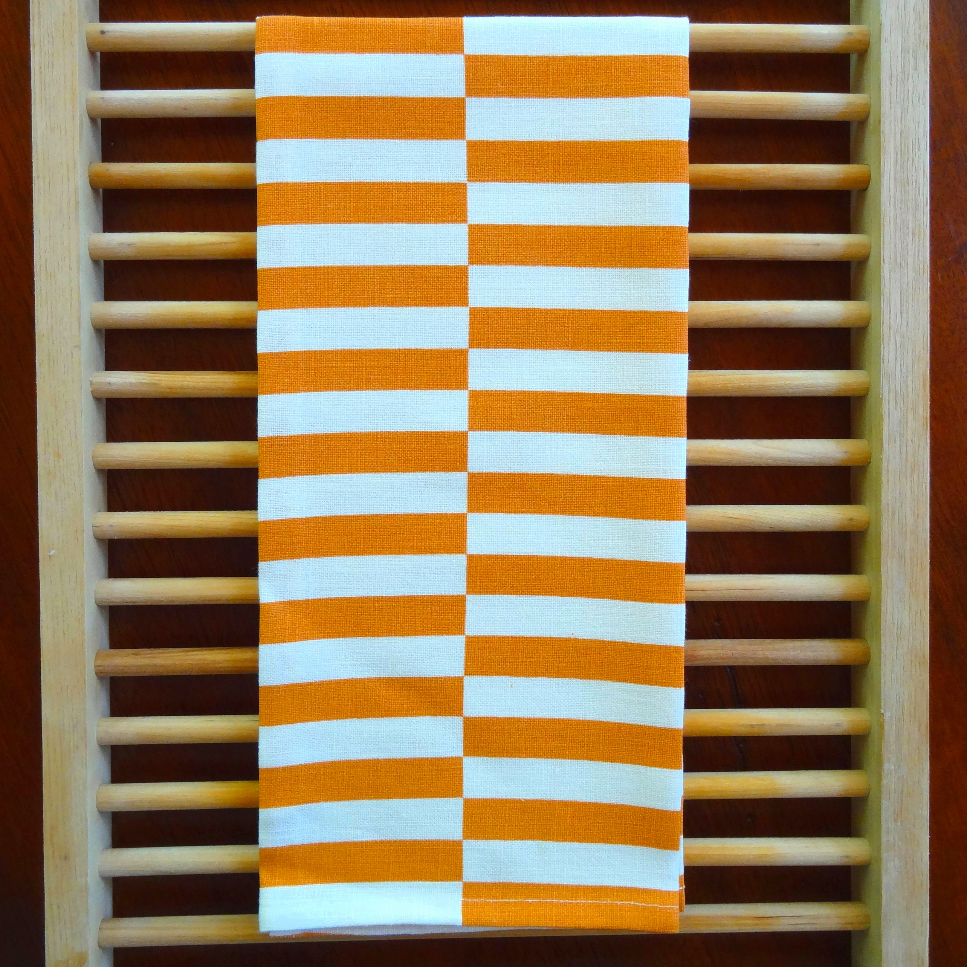 Linen Tea Towel with Copper Stripes