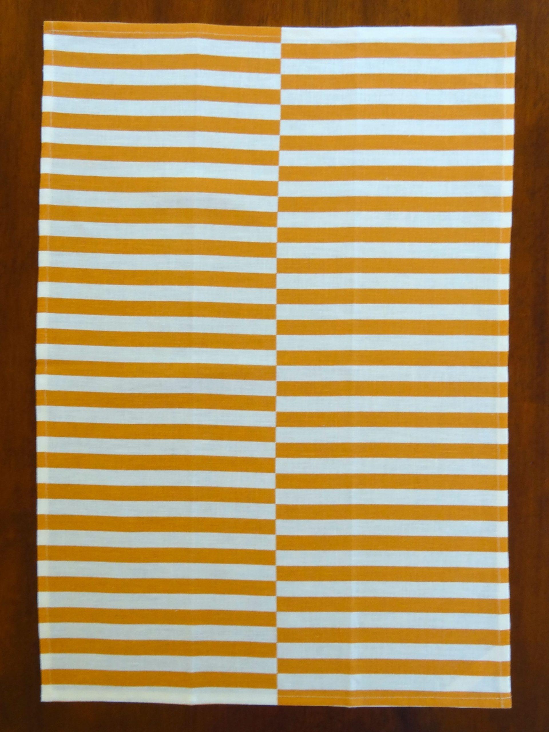 Linen Tea Towel with Copper Stripes