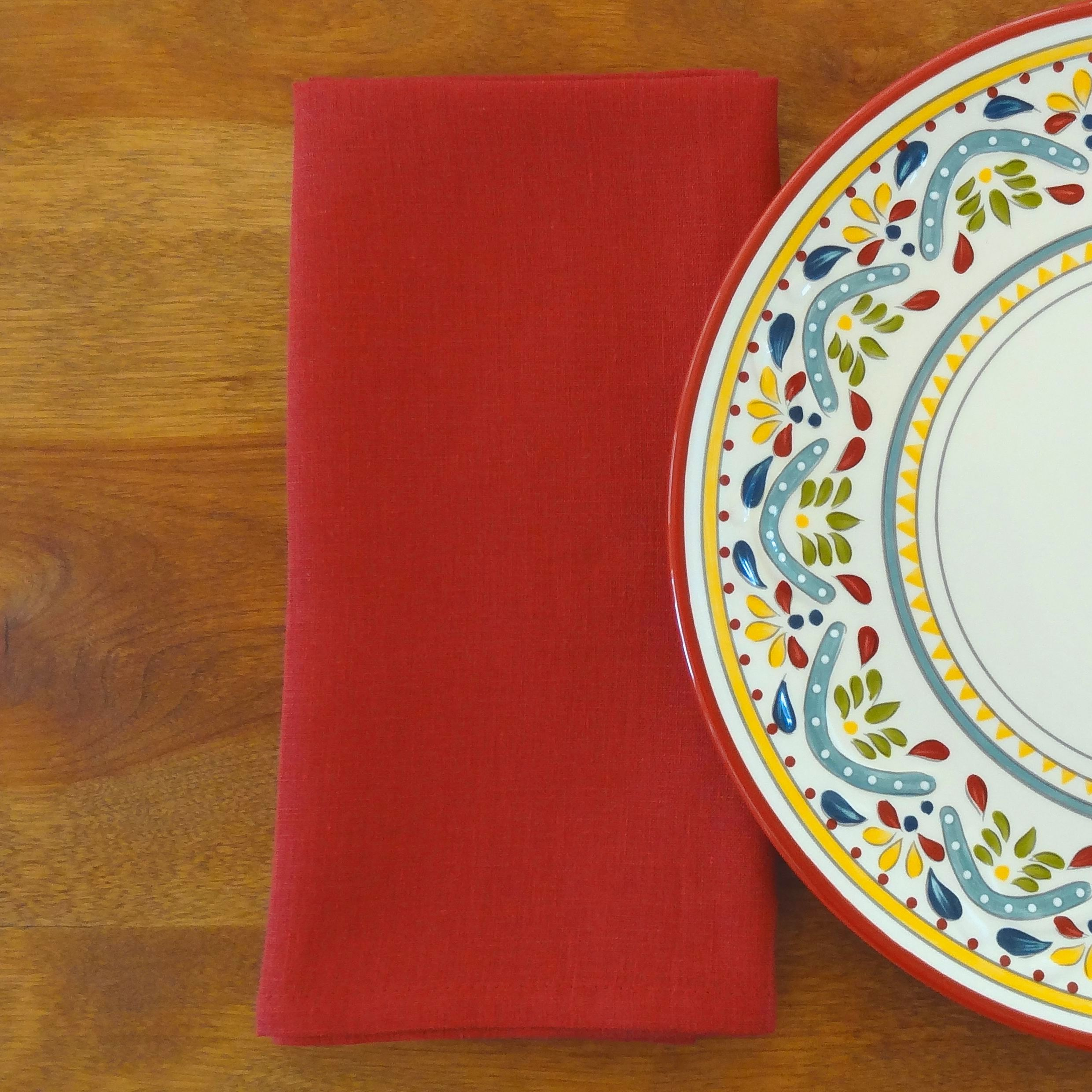Cherry Red Linen Napkins