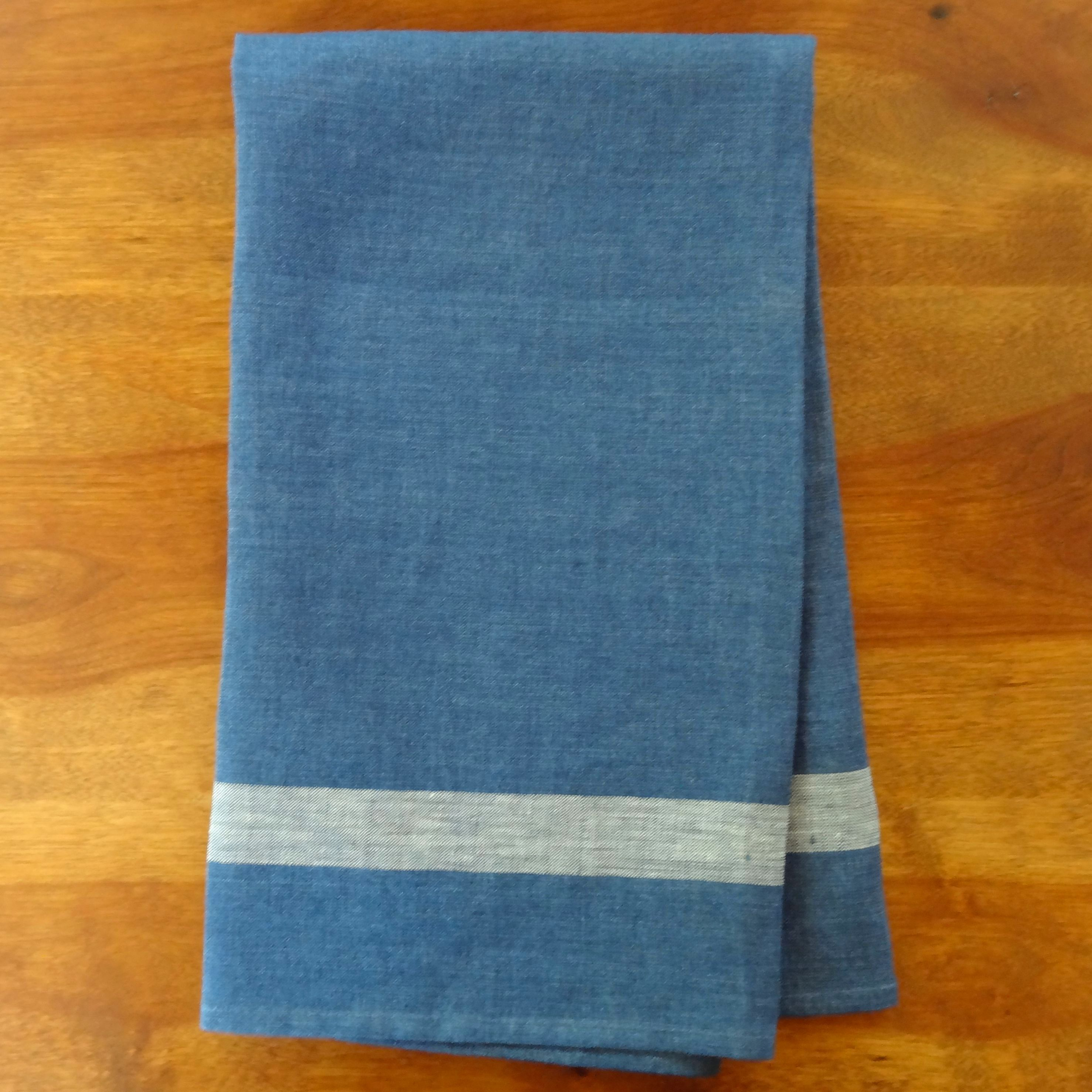 Blue Linen Tea Towel by Libeco