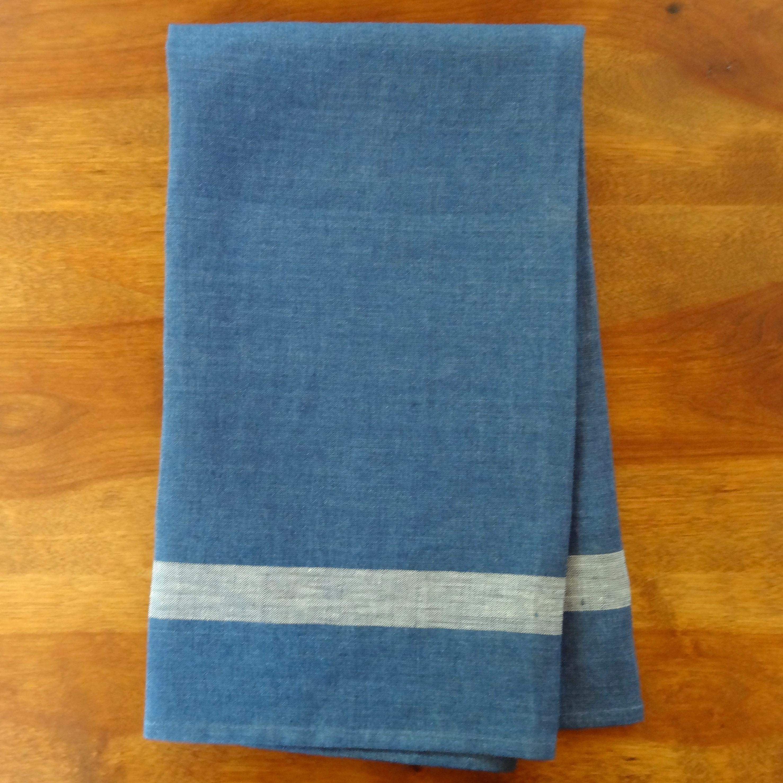 Blue Linen Tea Towel by Libeco