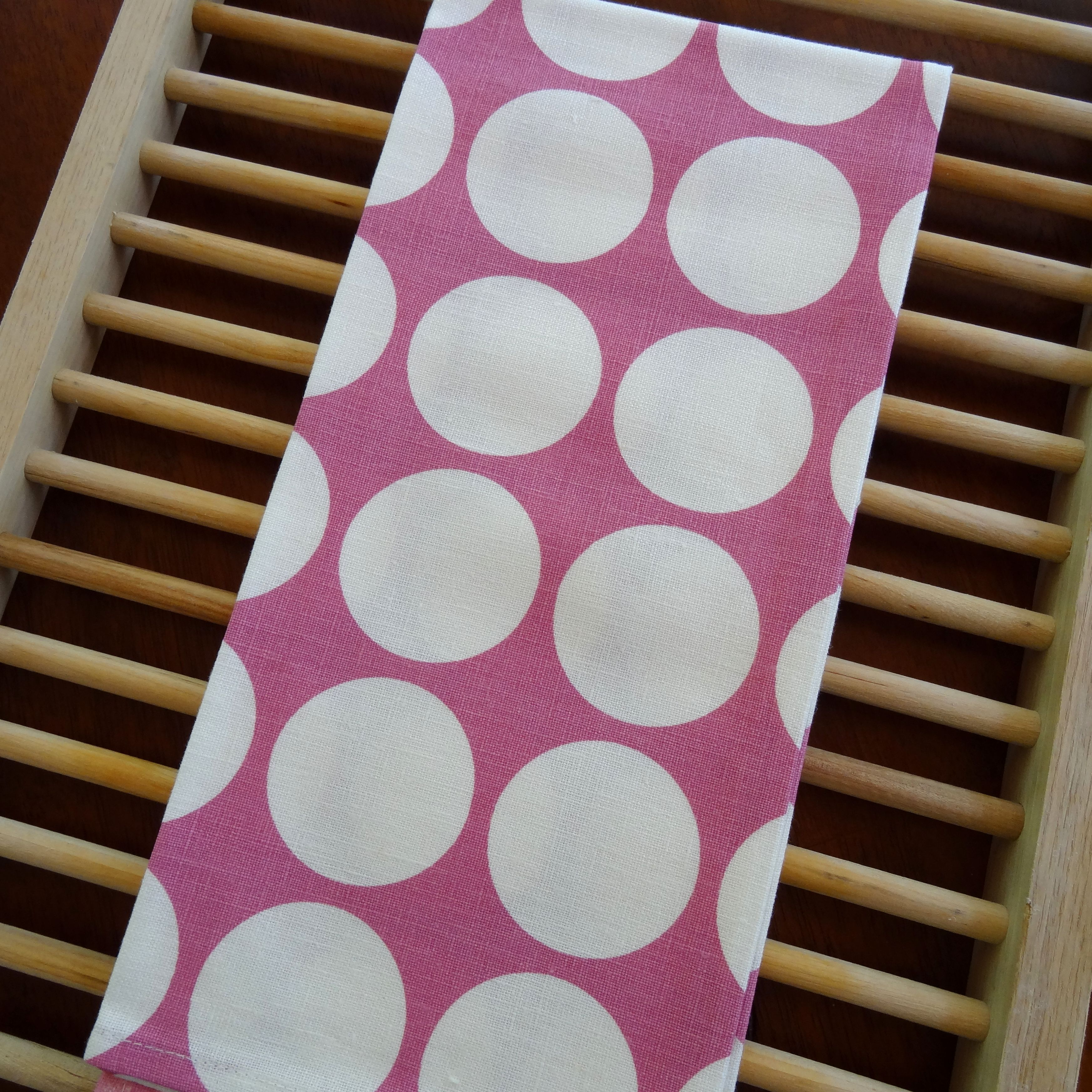 Pink Polka Dot Tea Towel