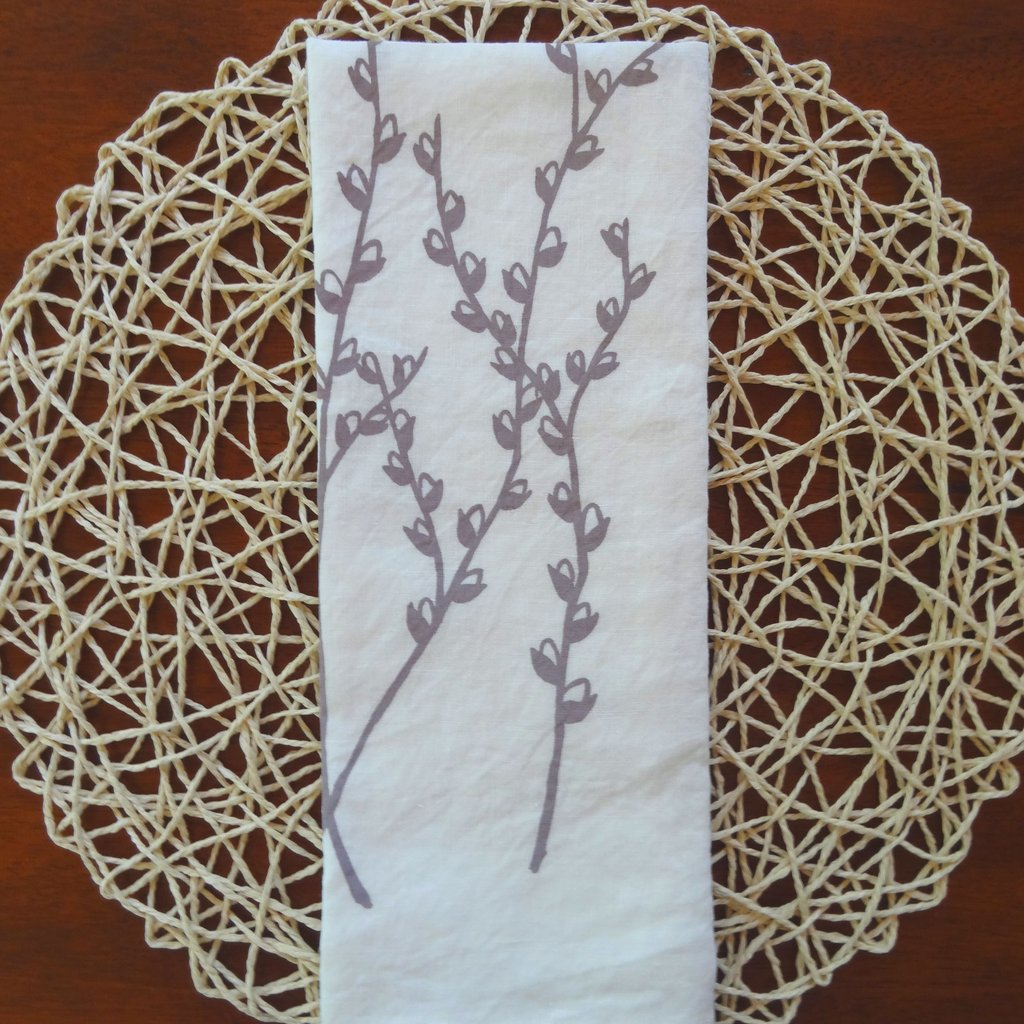 Linen Tea Towel with Pussywillows