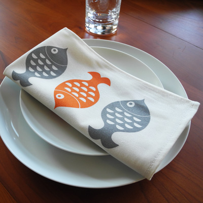 Napkins with hand-printed fish