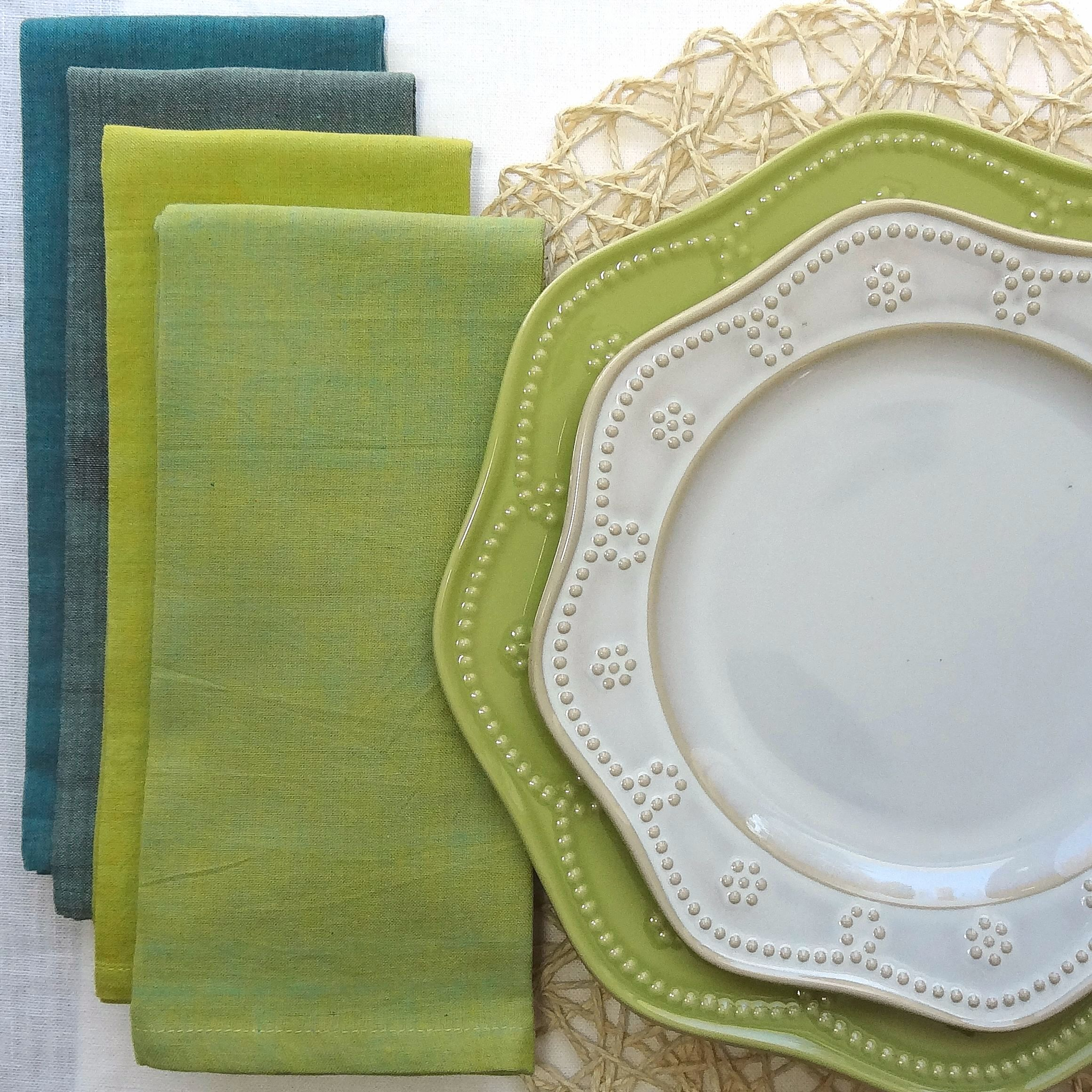 Mint green and blue napkins