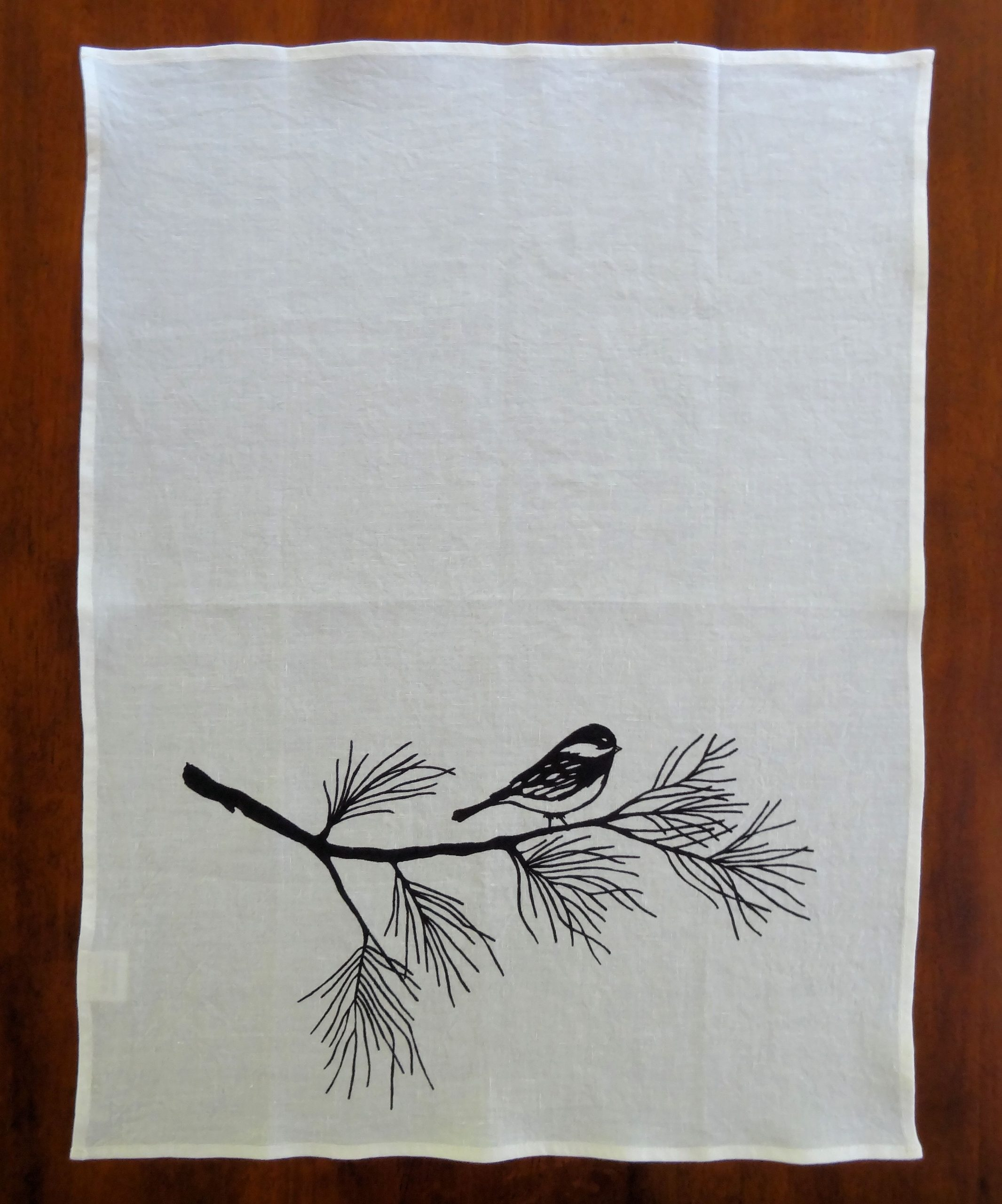 Tea Towel with black bird