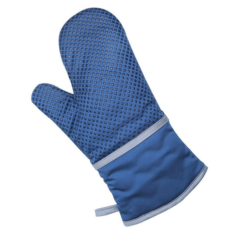 blue long oven mitt