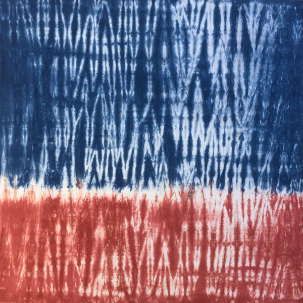 Hand-dyed blue and red towel